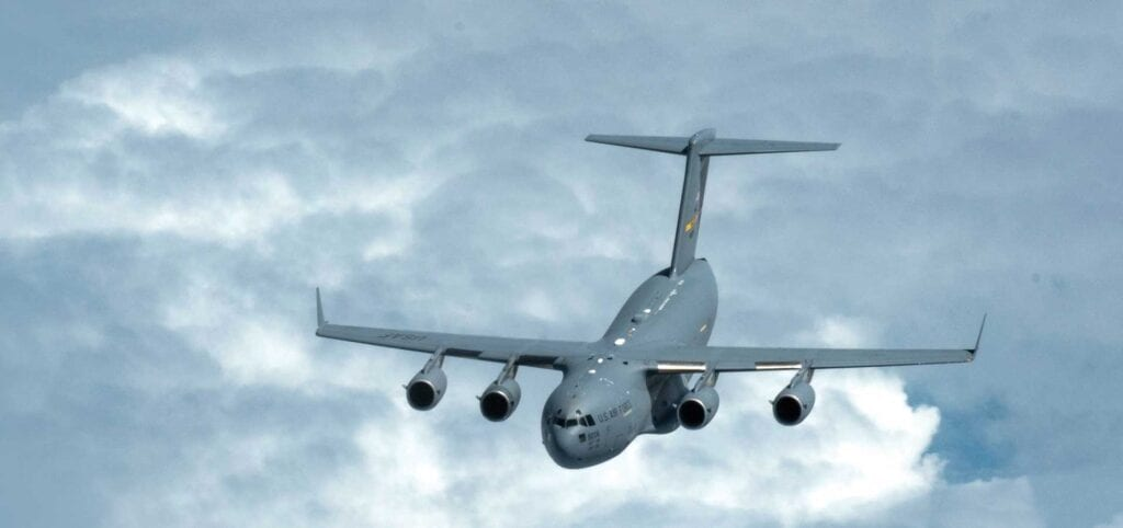 A C-17 Globemaster III with the 437th Airlift Wing, Joint Base Charleston, SC, flies over southeastern United States, August 10, 2018. USANG photo by A1C Tiffany A. Emery