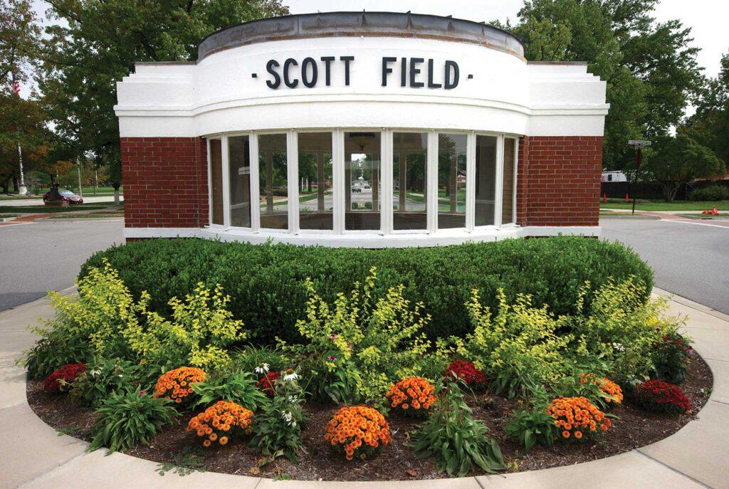 Former entry gate at Scott Field.