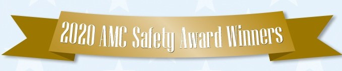 """Gold banner with the words """"2020 AMC Safety Award Winners"""""""