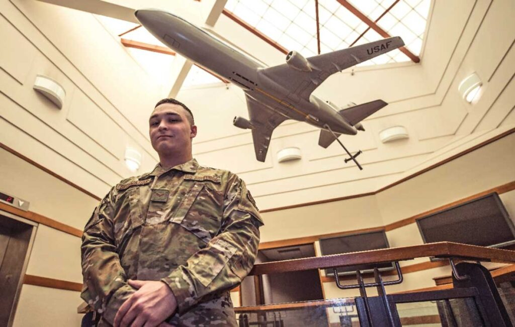 SrA Max Brunwasser, 660th Aircraft Maintenance Squadron Combat Navigation Journeyman, poses for a photo Oct. 6, 2020, in the 660 AMXS building at Travis Air Force Base, CA. USAF photo by SrA Christian Conrad