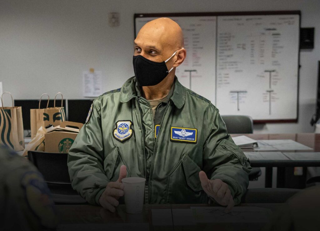 Lt Gen Brian Robinson, Air Mobility Command Deputy Commander, speaks during a preflight brief at Dover Air Force Base, DE, March 23, 2021. Robinson visited Dover AFB to engage with base leaders and fulfill training requirements on the C-17 Globemaster III. USAF photo by SrA Christopher Quail