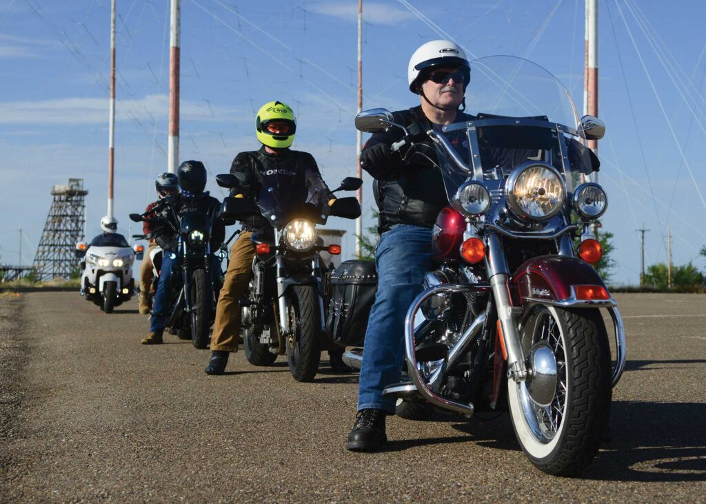 Students line up as they begin the Basic Rider Course 2 at Kirtland Air Force Base, NM, July 17, 2020. USAF photo by SSgt Enrique Barcelo